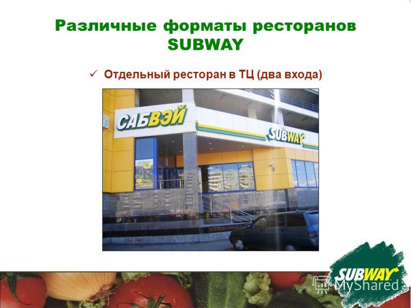 Различные форматы ресторанов SUBWAY Отдельный ресторан в ТЦ (два входа)
