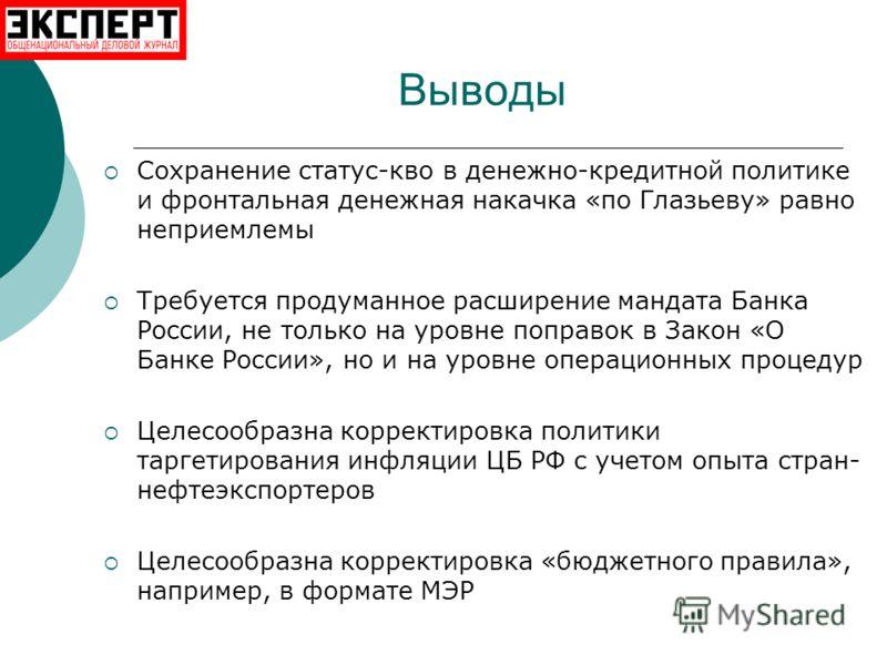 Выводы Сохранение статус-кво в денежно-кредитной политике и фронтальная денежная накачка «по Глазьеву» равно неприемлемы Требуется продуманное расширение мандата Банка России, не только на уровне поправок в Закон «О Банке России», но и на уровне опер