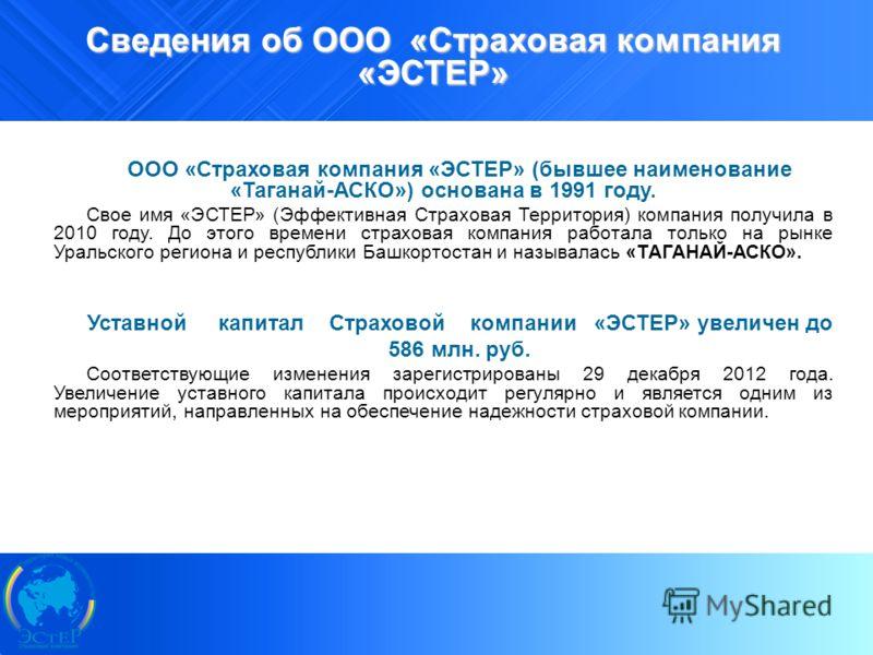10 Сведения об ООО «Страховая компания «ЭСТЕР» ООО «Страховая компания «ЭСТЕР» (бывшее наименование «Таганай-АСКО») основана в 1991 году. Свое имя «ЭСТЕР» (Эффективная Страховая Территория) компания получила в 2010 году. До этого времени страховая ко