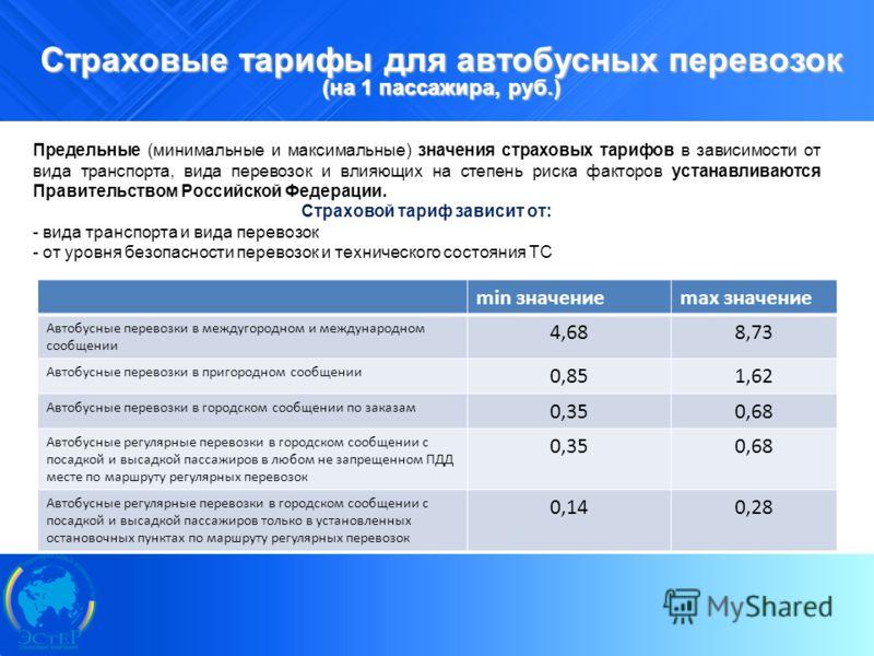 9 Страховые тарифы для автобусных перевозок (на 1 пассажира, руб.) Предельные (минимальные и максимальные) значения страховых тарифов в зависимости от вида транспорта, вида перевозок и влияющих на степень риска факторов устанавливаются Правительством