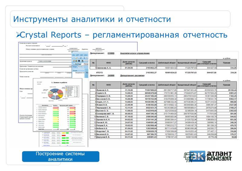 Построение системы аналитики Инструменты аналитики и отчетности Crystal Reports – регламентированная отчетность