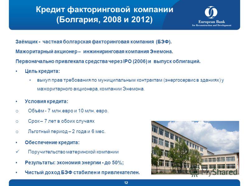 12 Кредит факторинговой компании (Болгария, 2008 и 2012) Заёмщик - частная болгарская факторинговая компания (БЭФ). Мажоритарный акционер – инжиниринговая компания Энемона. Первоначально привлекала средства через IPO (2006) и выпуск облигаций. Цель к