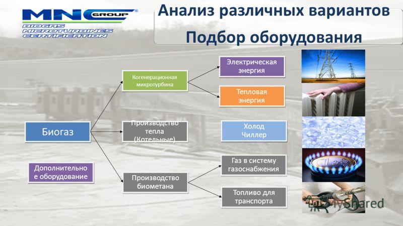 Производство тепла (Котельные) Производство тепла (Котельные) Производство биометана Биогаз Когенерационная микротурбина Топливо для транспорта Газ в систему газоснабжения Тепловая энергия Тепловая энергия Электрическая энергия Электрическая энергия