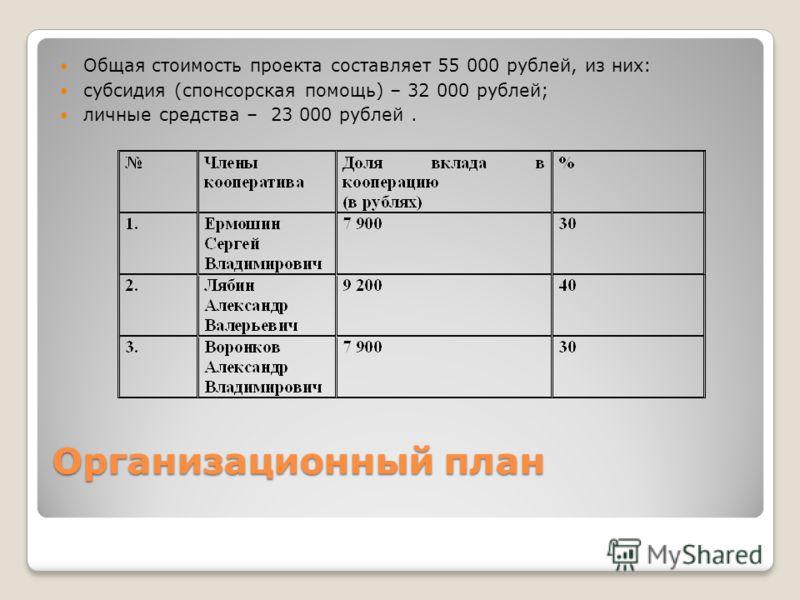 Организационный план Общая стоимость проекта составляет 55 000 рублей, из них: субсидия (спонсорская помощь) – 32 000 рублей; личные средства – 23 000 рублей.
