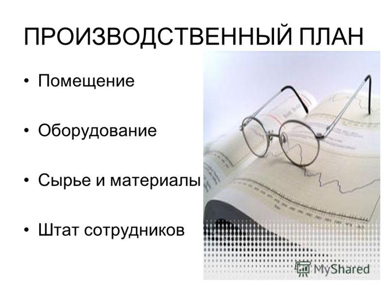 ПРОИЗВОДСТВЕННЫЙ ПЛАН Помещение Оборудование Сырье и материалы Штат сотрудников