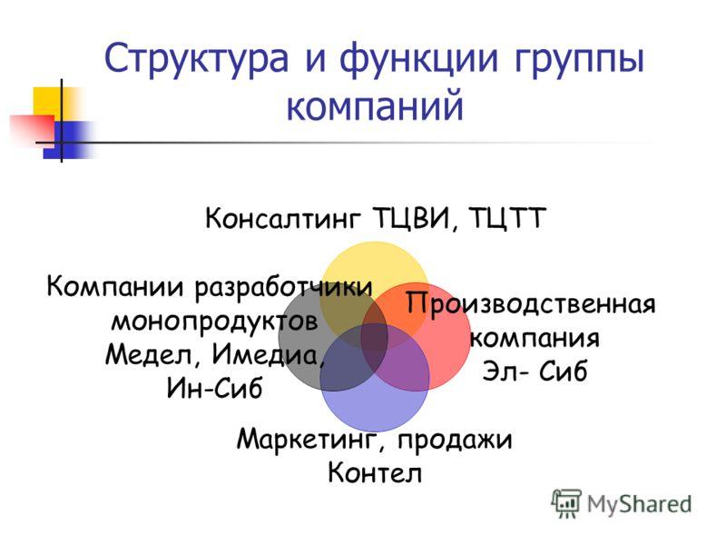 Структура и функции группы компаний Консалтинг ТЦВИ, ТЦТТ Производственная компания Эл- Сиб Маркетинг, продажи Контел Компании разработчики монопродуктов Медел, Имедиа, Ин-Сиб