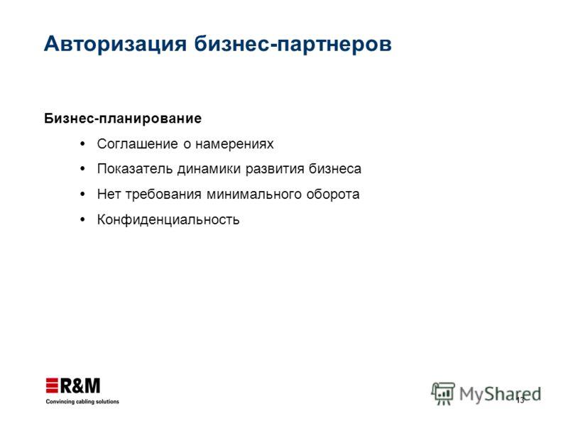 13 Авторизация бизнес-партнеров Бизнес-планирование Соглашение о намерениях Показатель динамики развития бизнеса Нет требования минимального оборота Конфиденциальность