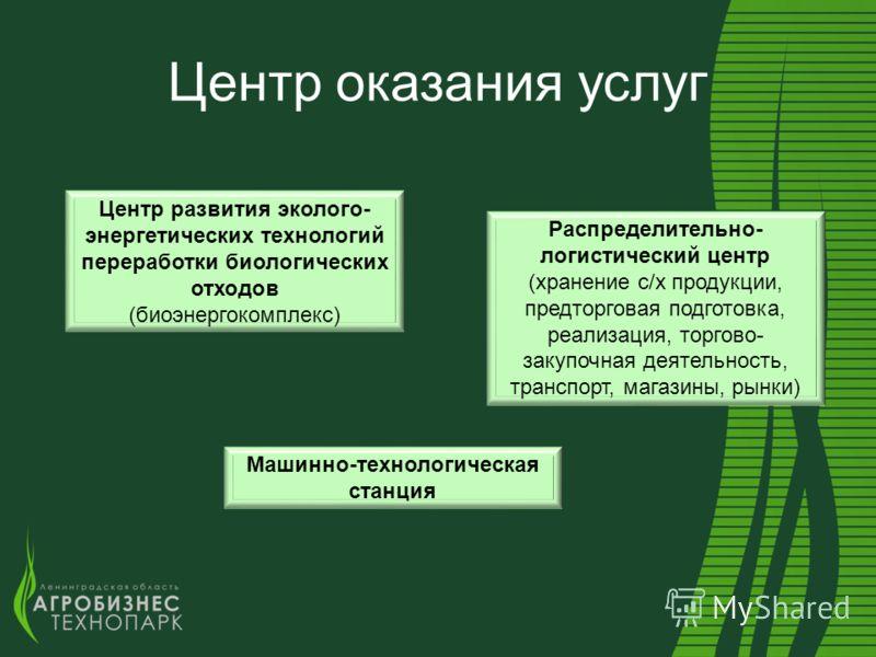 Центр оказания услуг Машинно-технологическая станция Распределительно- логистический центр (хранение с/х продукции, предторговая подготовка, реализация, торгово- закупочная деятельность, транспорт, магазины, рынки) Центр развития эколого- энергетичес