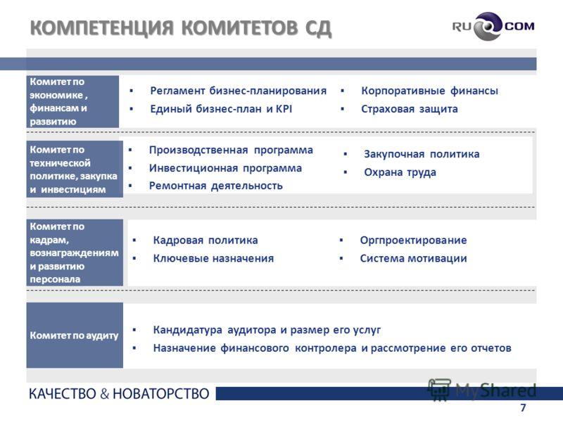 7 КОМПЕТЕНЦИЯ КОМИТЕТОВ СД Комитет по экономике, финансам и развитию Регламент бизнес-планирования Единый бизнес-план и KPI Комитет по кадрам, вознаграждениям и развитию персонала Кадровая политика Ключевые назначения Комитет по технической политике,