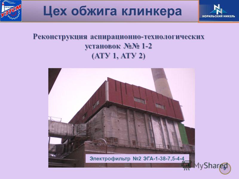Цех обжига клинкера 9 Реконструкция аспирационно-технологических установок 1-2 (АТУ 1, АТУ 2) Электрофильтр 2 ЭГА-1-38-7,5-4-4