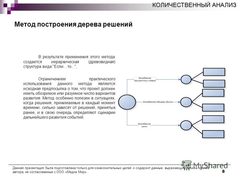 8 Метод построения дерева решений В результате применения этого метода создается иерархическая (древовидная) структура вида