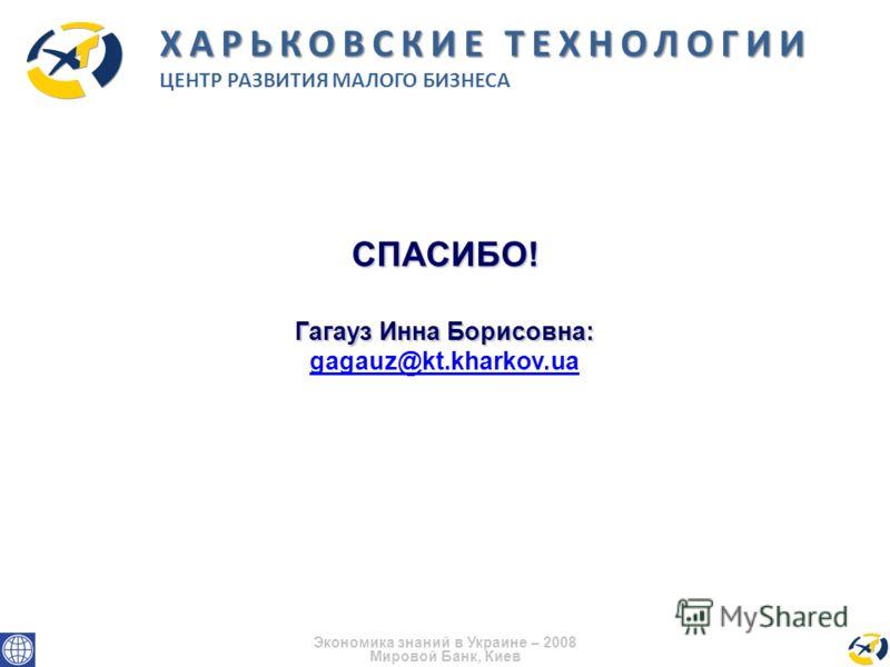СПАСИБО! Гагауз Инна Борисовна: gagauz@kt.kharkov.ua Экономика знаний в Украине – 2008 Мировой Банк, Киев ХАРЬКОВСКИЕ ТЕХНОЛОГИИ ЦЕНТР РАЗВИТИЯ МАЛОГО БИЗНЕСА