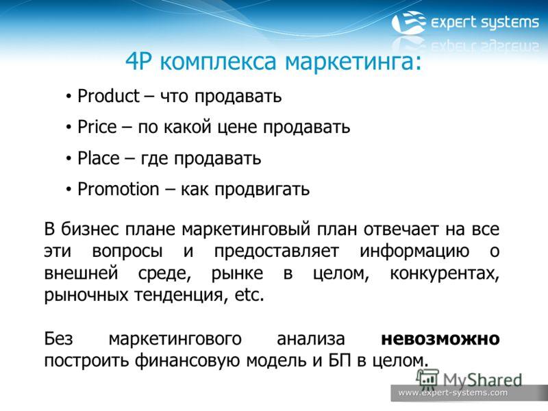 4P комплекса маркетинга: Product – что продавать Price – по какой цене продавать Place – где продавать Promotion – как продвигать В бизнес плане маркетинговый план отвечает на все эти вопросы и предоставляет информацию о внешней среде, рынке в целом,