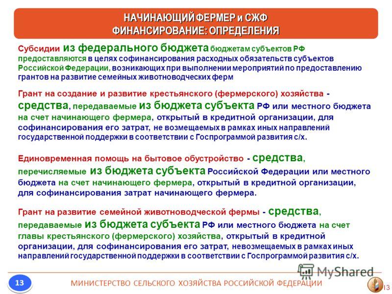 13 Субсидии из федерального бюджета бюджетам субъектов РФ предоставляются в целях софинансирования расходных обязательств субъектов Российской Федерации, возникающих при выполнении мероприятий по предоставлению грантов на развитие семейных животновод