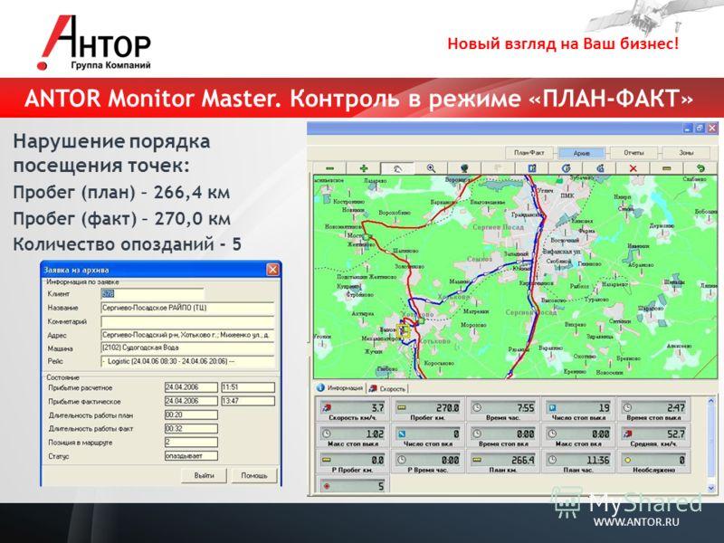Новый взгляд на Ваш бизнес! WWW.ANTOR.RU ANTOR Monitor Master. Контроль в режиме «ПЛАН-ФАКТ» Нарушение порядка посещения точек: Пробег (план) – 266,4 км Пробег (факт) – 270,0 км Количество опозданий - 5