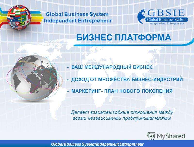 БИЗНЕС ПЛАТФОРМА Global Business System Independent Entrepreneur Делает взаимовыгодные отношения между всеми независимыми предпринимателями! - ВАШ МЕЖДУНАРОДНЫЙ БИЗНЕС - ДОХОД ОТ МНОЖЕСТВА БИЗНЕC-ИНДУСТРИЙ - МАРКЕТИНГ- ПЛАН НОВОГО ПОКОЛЕНИЯ