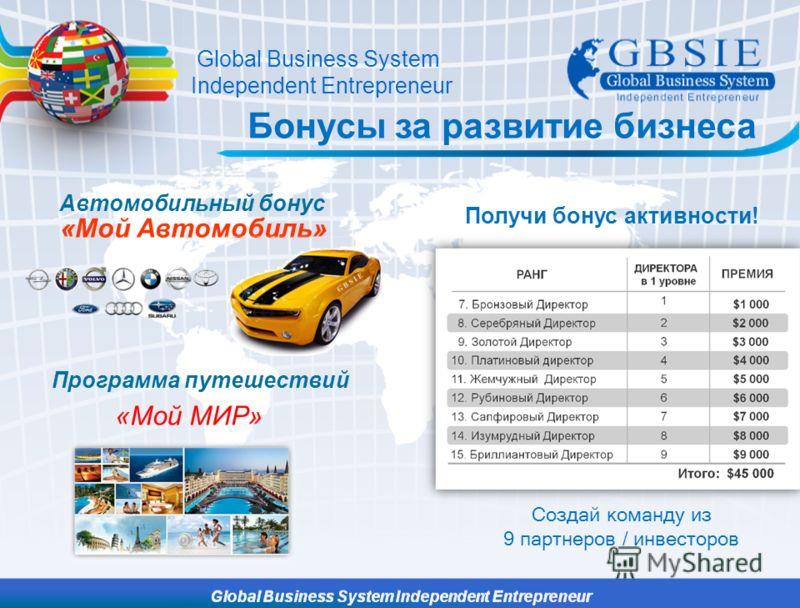 Бонусы за развитие бизнеса Создай команду из 9 партнеров / инвесторов «Мой Автомобиль» Автомобильный бонус «Мой МИР» Программа путешествий Global Business System Independent Entrepreneur Получи бонус активности!