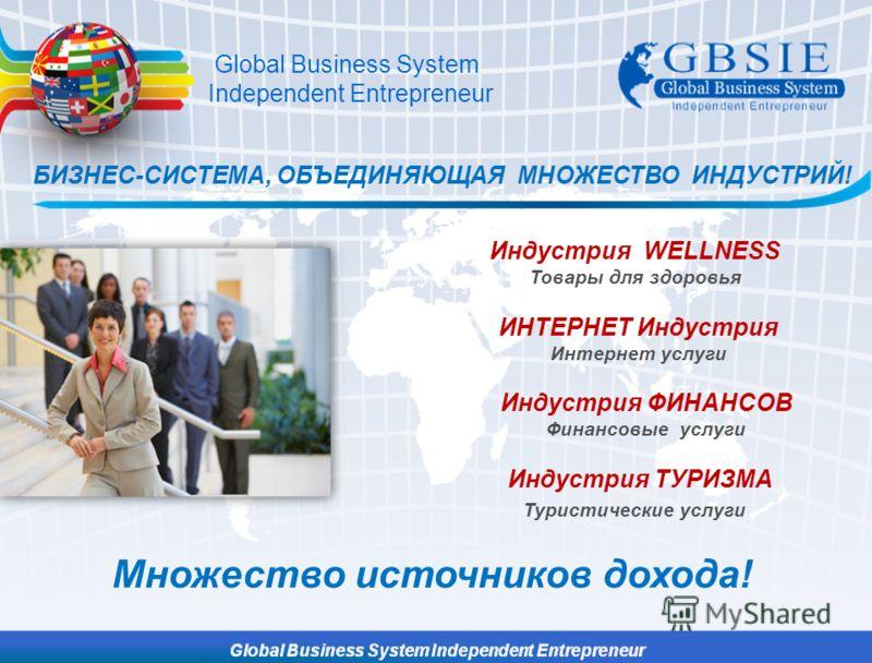 БИЗНЕС-СИСТЕМА, ОБЪЕДИНЯЮЩАЯ МНОЖЕСТВО ИНДУСТРИЙ! Индустрия WELLNESS Товары для здоровья ИНТЕРНЕТ Индустрия Интернет услуги Индустрия ФИНАНСОВ Финансовые услуги Индустрия ТУРИЗМА Туристические услуги Global Business System Independent Entrepreneur Мн