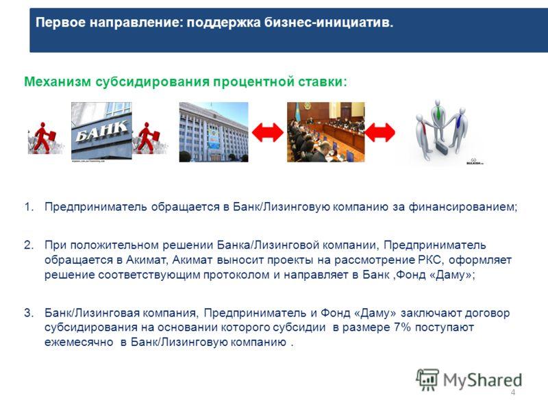 Первое направление: поддержка бизнес-инициатив. 4 Механизм субсидирования процентной ставки: 1.Предприниматель обращается в Банк/Лизинговую компанию за финансированием; 2.При положительном решении Банка/Лизинговой компании, Предприниматель обращается