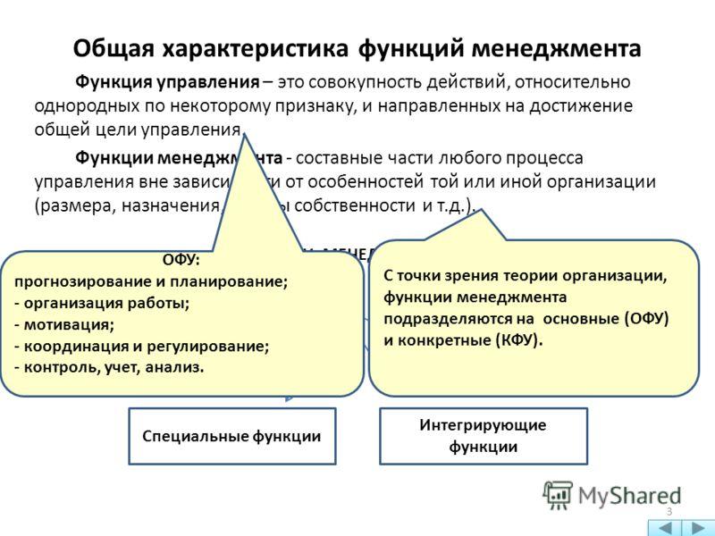 Общая характеристика функций менеджмента Функция управления – это совокупность действий, относительно однородных по некоторому признаку, и направленных на достижение общей цели управления. Функции менеджмента - составные части любого процесса управле