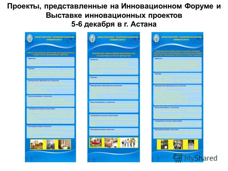 Проекты, представленные на Инновационном Форуме и Выставке инновационных проектов 5-6 декабря в г. Астана