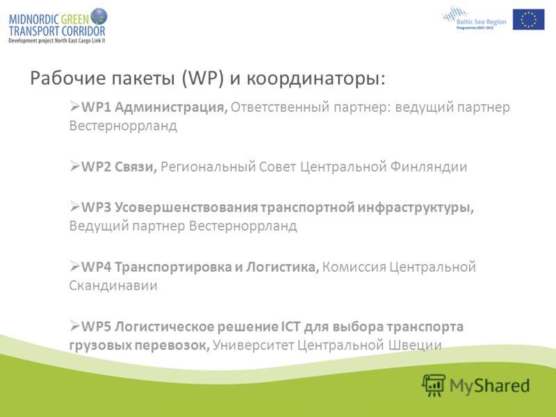 Рабочие пакеты (WР) и координаторы: WP1 Администрация, Ответственный партнер: ведущий партнер Вестерноррланд WP2 Связи, Региональный Совет Центральной Финляндии WP3 Усовершенствования транспортной инфраструктуры, Ведущий партнер Вестерноррланд WP4 Тр