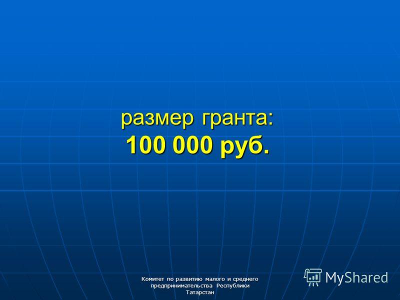 Комитет по развитию малого и среднего предпринимательства Республики Татарстан размер гранта: 100 000 руб.