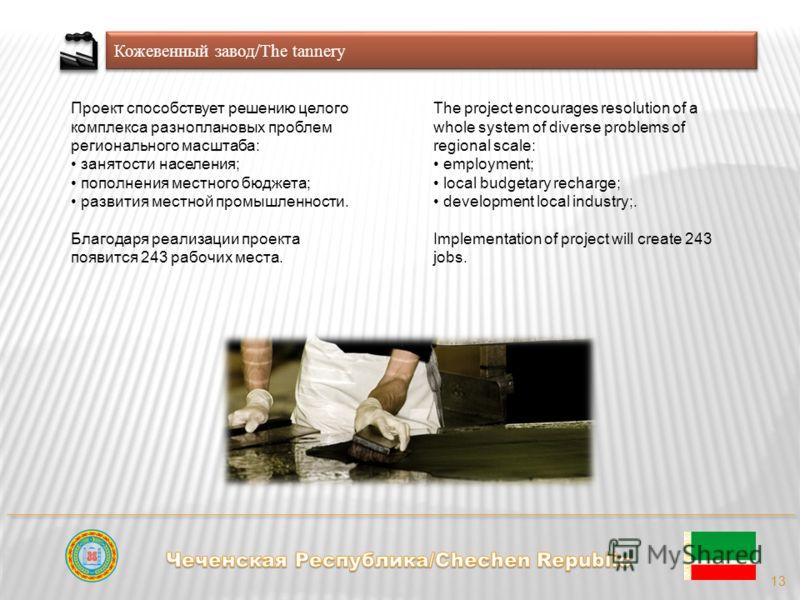 Кожевенный завод/The tannery 13 Проект способствует решению целого комплекса разноплановых проблем регионального масштаба: занятости населения; пополнения местного бюджета; развития местной промышленности. Благодаря реализации проекта появится 243 ра