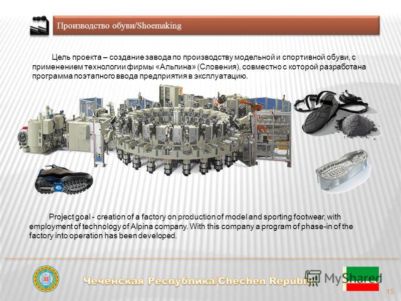 Производство обуви/Shoemaking 15 Цель проекта – создание завода по производству модельной и спортивной обуви, с применением технологии фирмы «Альпина» (Словения), совместно с которой разработана программа поэтапного ввода предприятия в эксплуатацию.