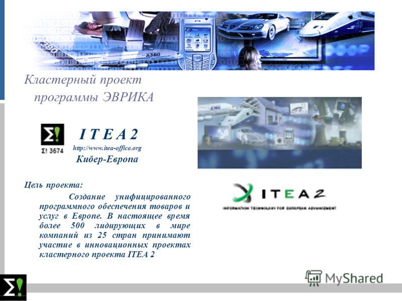 слацд Кластерный проект программы ЭВРИКА I T E A 2 http://www.itea-office.org Кибер-Европа Цель проекта: Создание унифицированного программного обеспечения товаров и услуг в Европе. В настоящее время более 500 лидирующих в мире компаний из 25 стран п