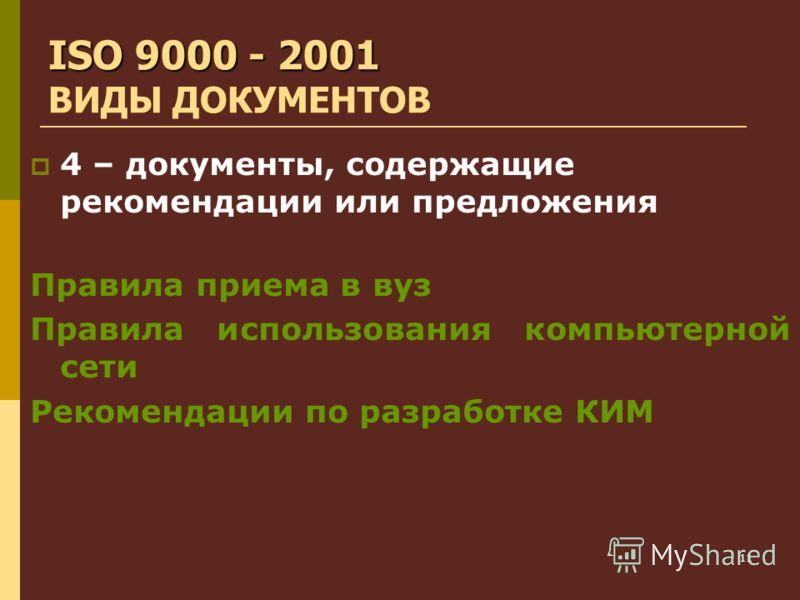 11 ISO 9000 - 2001 ISO 9000 - 2001 ВИДЫ ДОКУМЕНТОВ 4 – документы, содержащие рекомендации или предложения Правила приема в вуз Правила использования компьютерной сети Рекомендации по разработке КИМ