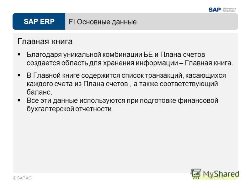 SAP ERP Page 7-12 © SAP AG FI Основные данные Главная книга Благодаря уникальной комбинации БЕ и Плана счетов создается область для хранения информации – Главная книга. В Главной книге содержится список транзакций, касающихся каждого счета из Плана с