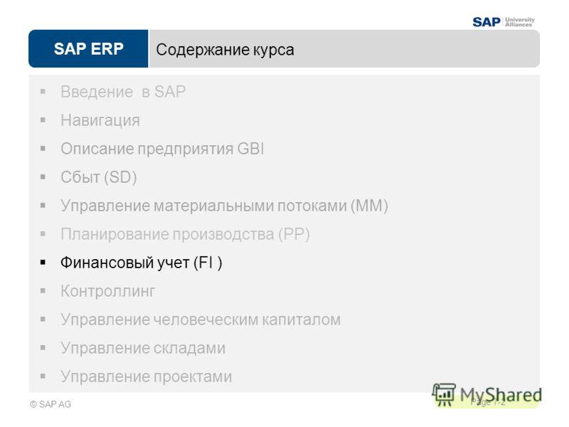 SAP ERP Page 7-2 © SAP AG Содержание курса Введение в SAP Навигация Описание предприятия GBI Сбыт (SD) Управление материальными потоками (MM) Планирование производства (PP) Финансовый учет (FI ) Контроллинг Управление человеческим капиталом Управлени