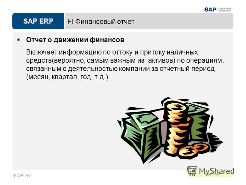 SAP ERP Page 7-22 © SAP AG FI Финансовый отчет Отчет о движении финансов Включает информацию по оттоку и притоку наличных средств(вероятно, самым важным из активов) по операциям, связанным с деятельностью компании за отчетный период (месяц, квартал,