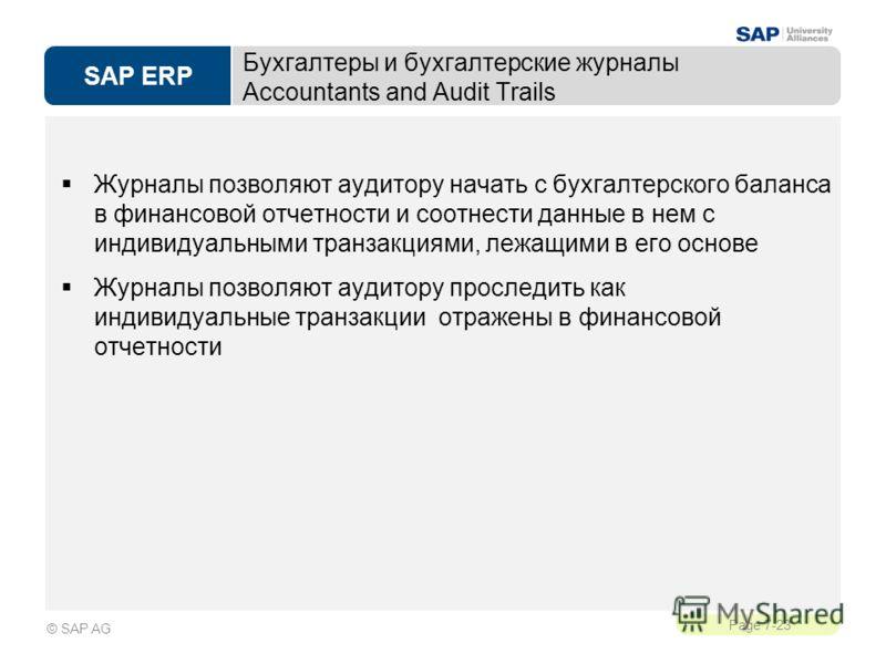 SAP ERP Page 7-23 © SAP AG Бухгалтеры и бухгалтерские журналы Accountants and Audit Trails Журналы позволяют аудитору начать с бухгалтерского баланса в финансовой отчетности и соотнести данные в нем с индивидуальными транзакциями, лежащими в его осно