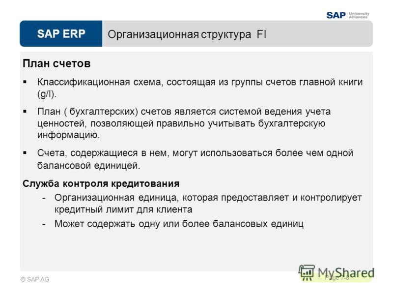 SAP ERP Page 7-8 © SAP AG Организационная структура FI План счетов Классификационная схема, состоящая из группы счетов главной книги (g/l). План ( бухгалтерских) счетов является системой ведения учета ценностей, позволяющей правильно учитывать бухгал