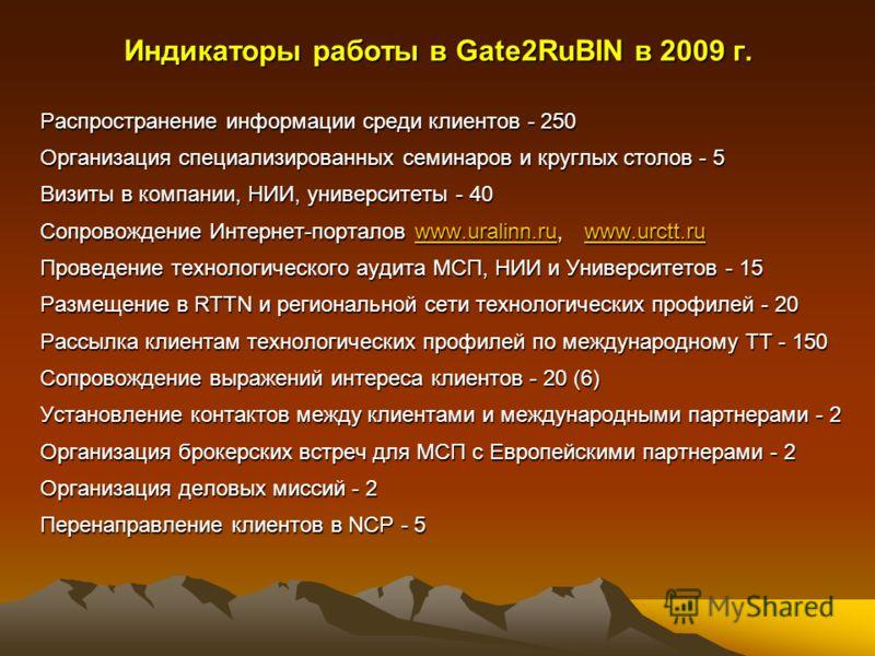Индикаторы работы в Gate2RuBIN в 2009 г. Распространение информации среди клиентов - 250 Организация специализированных семинаров и круглых столов - 5 Визиты в компании, НИИ, университеты - 40 Сопровождение Интернет-порталов www.uralinn.ru, www.urctt