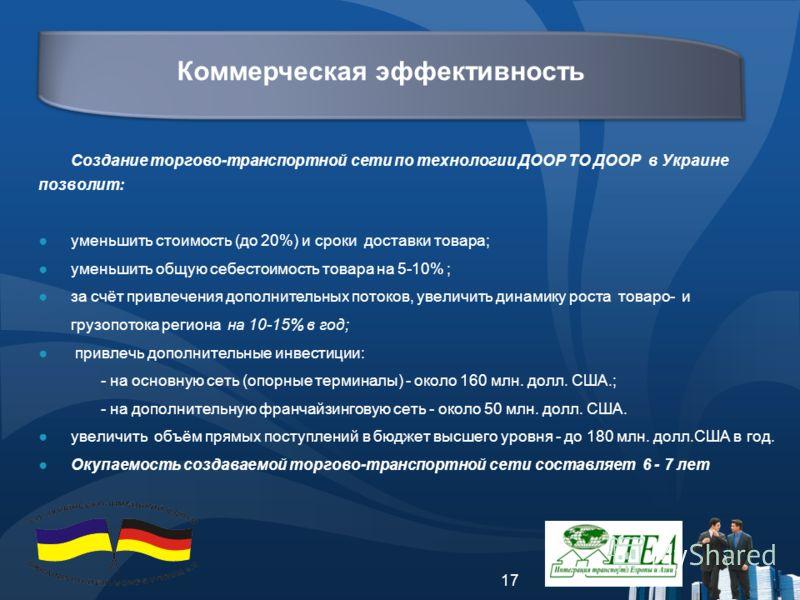 17 Создание торгово-транспортной сети по технологии ДООР ТО ДООР в Украине позволит: уменьшить стоимость (до 20%) и сроки доставки товара; уменьшить общую себестоимость товара на 5-10% ; за счёт привлечения дополнительных потоков, увеличить динамику