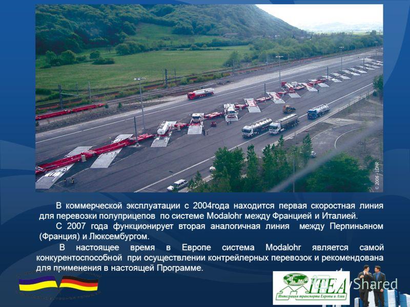 В коммерческой эксплуатации с 2004года находится первая скоростная линия для перевозки полуприцепов по системе Modalohr между Францией и Италией. С 2007 года функционирует вторая аналогичная линия между Перпиньяном (Франция) и Люксембургом. В настоящ