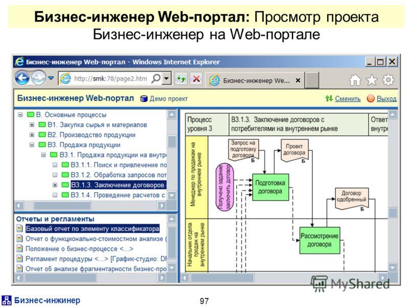 Бизнес-инжинер 97 Бизнес-инженер Web-портал: Просмотр проекта Бизнес-инженер на Web-портале