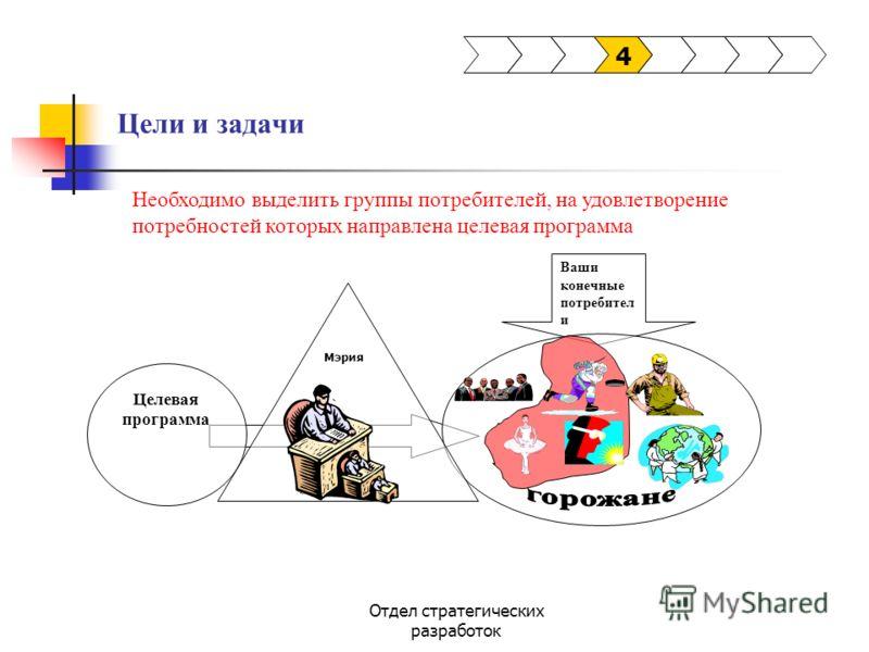 Отдел стратегических разработок Цели и задачи 4 Ваши конечные потребител и Мэрия Целевая программа Необходимо выделить группы потребителей, на удовлетворение потребностей которых направлена целевая программа