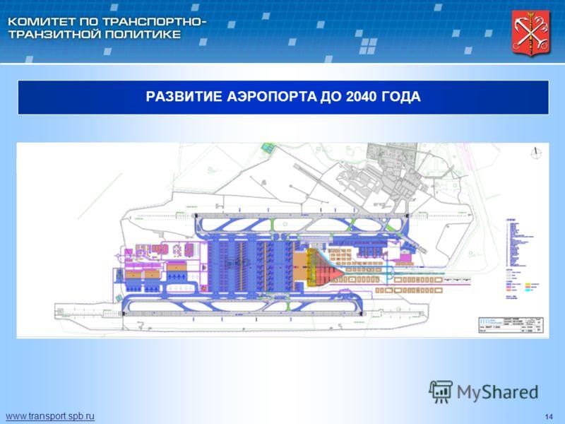 14 РАЗВИТИЕ АЭРОПОРТА ДО 2040 ГОДА www.transport.spb.ru