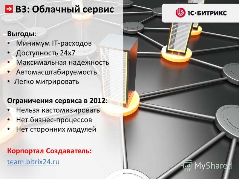 Выгоды: Минимум IT-расходов Доступность 24х7 Максимальная надежность Автомасштабируемость Легко мигрировать Ограничения сервиса в 2012: Нельзя кастомизировать Нет бизнес-процессов Нет сторонних модулей Корпортал Создаватель: team.bitrix24.ru В3: Обла