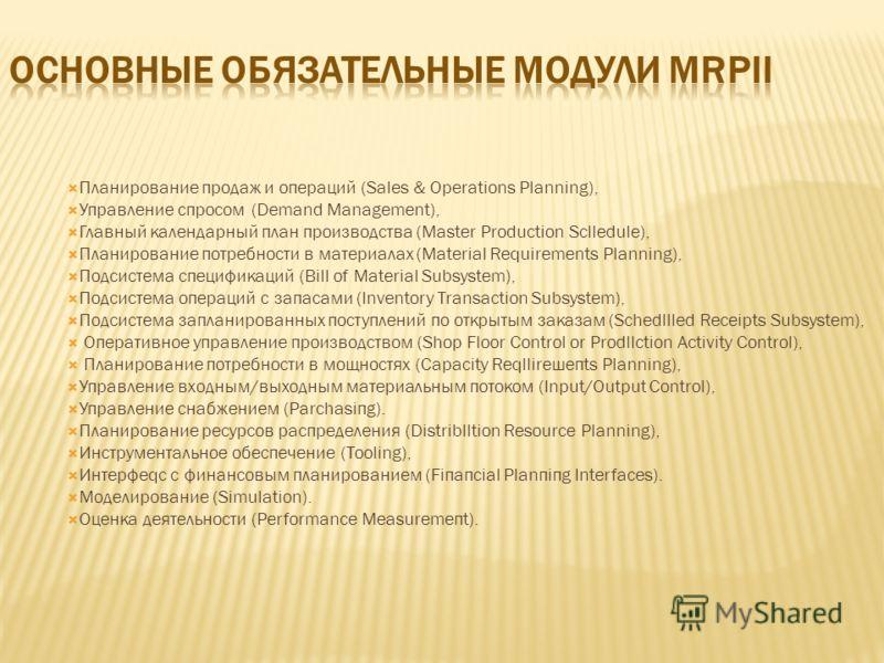Планирование продаж и операций (Sales & Operations Planning), Управление спросом (Demand Management), Главный календарный план производства (Master Production Sclledule), Планирование потребности в материалах (Material Requirements Planning), Подсист