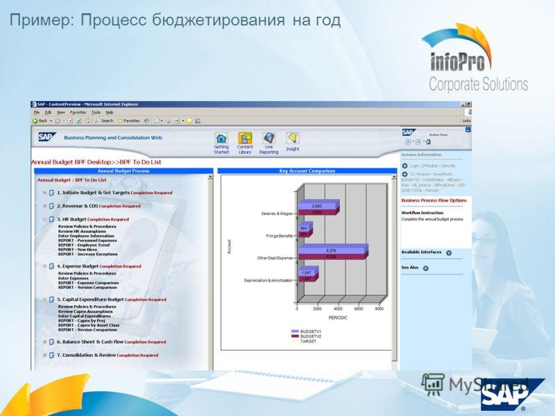 Пример: Процесс бюджетирования на год