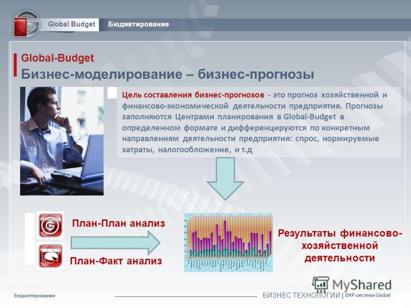 Бюджетирование БИЗНЕС ТЕХНОЛОГИИ | ERP система Global Global BudgetБюджетирование Global-Budget Бизнес-моделирование – бизнес-прогнозы Цель составления бизнес-прогнозов - это прогноз хозяйственной и финансово-экономической деятельности предприятия. П