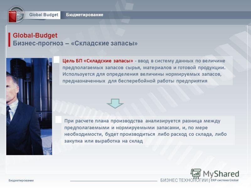 Бюджетирование БИЗНЕС ТЕХНОЛОГИИ | ERP система Global Global BudgetБюджетирование Global-Budget Бизнес-прогноз – «Складские запасы» Цель БП «Складские запасы» - ввод в систему данных по величине предполагаемых запасов сырья, материалов и готовой прод