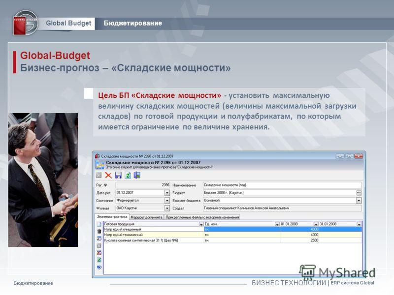 Бюджетирование БИЗНЕС ТЕХНОЛОГИИ | ERP система Global Global BudgetБюджетирование Global-Budget Бизнес-прогноз – «Складские мощности» Цель БП «Складские мощности» - установить максимальную величину складских мощностей (величины максимальной загрузки