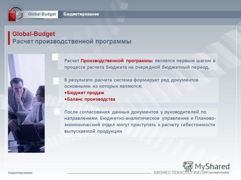 Бюджетирование БИЗНЕС ТЕХНОЛОГИИ | ERP система Global Global BudgetБюджетирование Global-Budget Расчет производственной программы Расчет Производственной программы является первым шагом в процессе расчета Бюджета на очередной бюджетный период. В резу