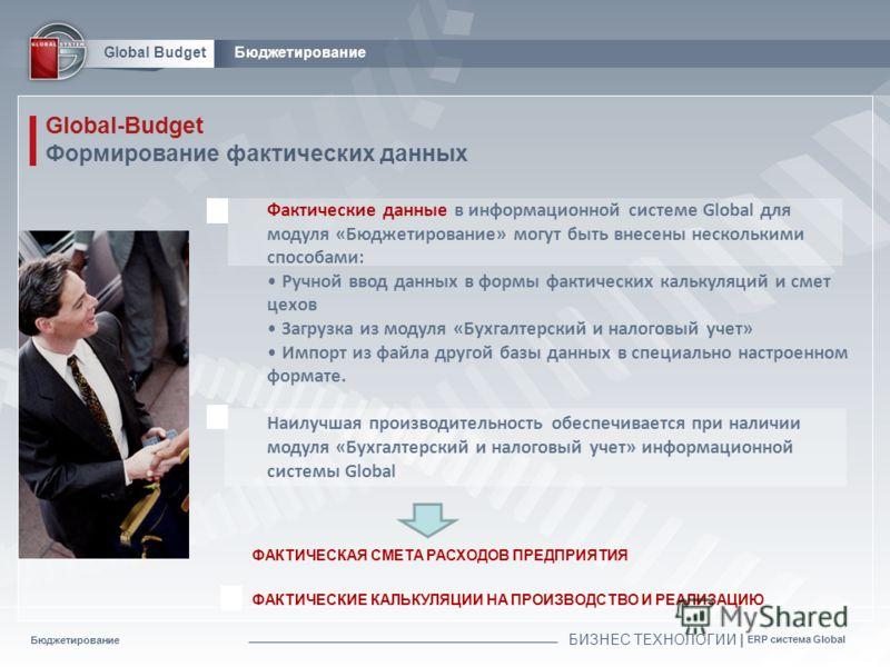 Бюджетирование БИЗНЕС ТЕХНОЛОГИИ | ERP система Global Global BudgetБюджетирование Global-Budget Формирование фактических данных ФАКТИЧЕСКАЯ СМЕТА РАСХОДОВ ПРЕДПРИЯТИЯ Фактические данные в информационной системе Global для модуля «Бюджетирование» могу